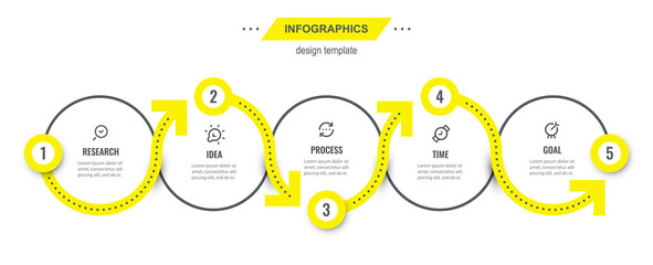 Obraz Vector Infographic design template with 5 options or steps. Can be used for process diagram, presentations, workflow layout, banner, flow chart, info graph. - fototapety do salonu
