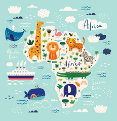 Map of Africa. African animals leopard, lion, giraffe, crocodile, zebra, flamingo, elephant. Childish print with wild animals