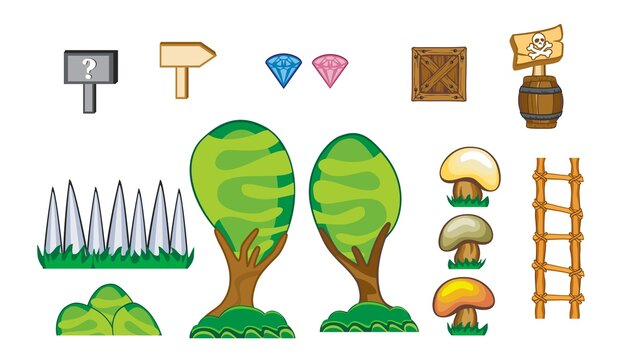 set of game assets, icon, element, tileable seamless tileset, Useful for  creating mobile and 2d game,  isolated on white background