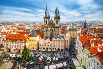 Old Town Square Christmas market from above in Prague, Czech republic