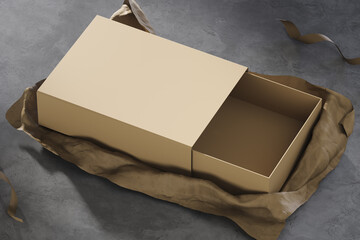 Realistic gift box on kraft paper background and concrete black floor. Mock up. 3d rendering