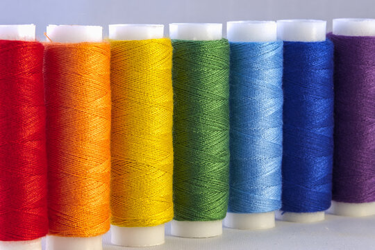Rainbow colour sewing threads