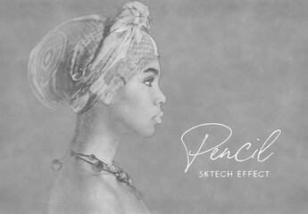 Pencil Drawing Sketch Photo Effect Mockup