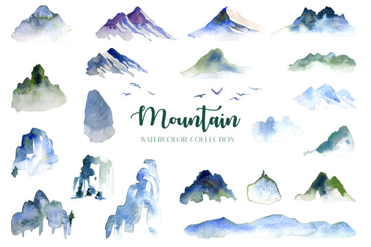Water color mountain, hill and bird collection arrange isolated on white background.