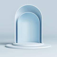 Geometric blue podium for product presentation, 3d render, 3d illustration