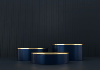 Abstract deep blue stage platform, for advertising product display, 3d rendering.