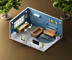 Isometric view living room open inside interior architecture, 3d rendering.