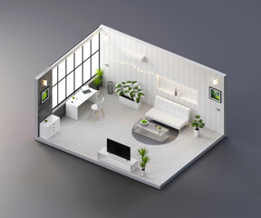 Isometric view white living room open inside interior architecture, 3d rendering.