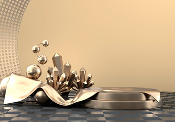 Abstract Elegance Luxury Golden stage platform, template for advertising product, 3d rendering.