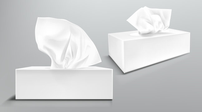 Box with white paper napkins front and angle view. Vector realistic mockup of blank cardboard package with facial tissues or handkerchiefs isolated on gray background