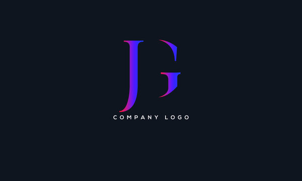 Abstract creative minimal and unique alphabet letter icon logo JG