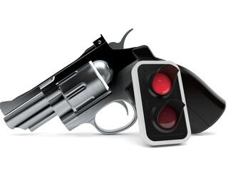 Gun with red traffic light