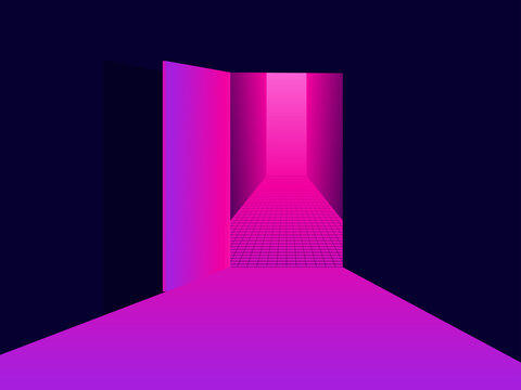 Entering virtual reality. Light from an open door, pink purple gradient. Open door to 80s retro sci-fi virtual reality. Synthwave and retrowave style. Vector illustration
