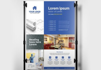 Poster Banner Layout for Handyman Construction Services