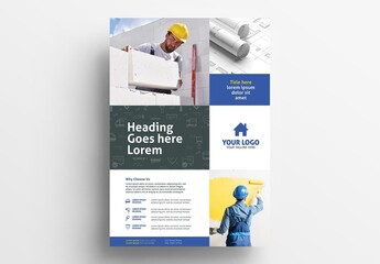 Yellow and Blue Poster Flyer for Construction Handyman Services