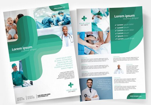 Turquoise Medical Service Poster Flyer for Hospitals and Doctors