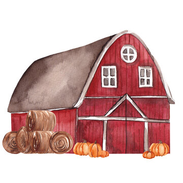 Watercolor autumn illustration with barn and autumn floral element, isolated on white background