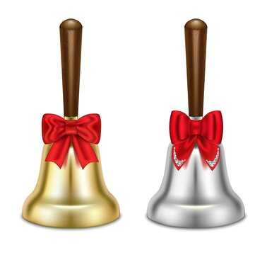 Set of gold and silver bells. With red bows. Christmas symbol, school bell. 3L realistic illustration. Isolated on white background. Vector.