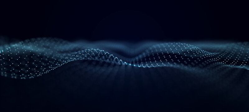 Wave stream digital illustration. Abstract background of blue color. 3d rendering.