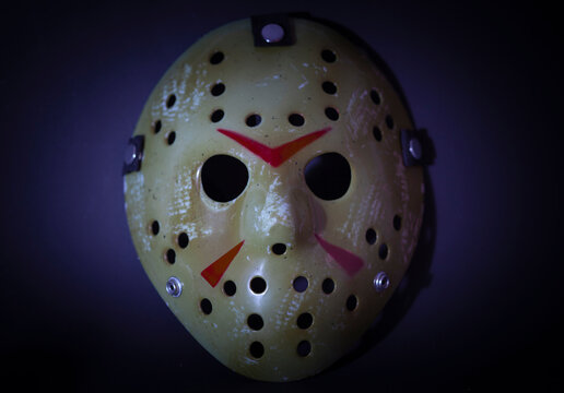 NEW YORK USA - AUG 25 2019: Studio portrait of the hockey mask worn by slasher Jason Voorhees from the Friday the 13th movie franchise