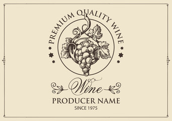 Wine label with a hand-drawn bunch of grapes and calligraphic inscription on a light background. Vector label in retro style for red and white grape wine