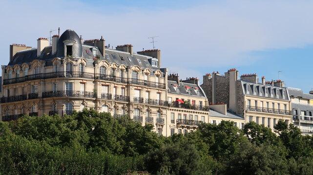 Immobilier à Paris, vue sur des immeubles parisiens haussmanniens, émergeant au-dessus des arbres en été (France)