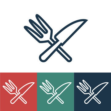 Linear vector icon with knife with fork