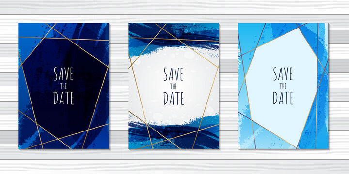 Wedding invitation card brush blue abstract template
