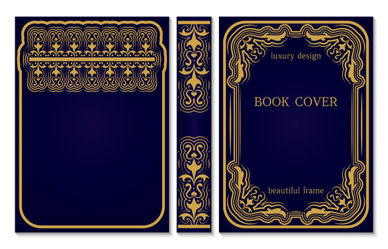 Book cover and spine design. Old retro frames pattern with swirls. Royal Golden and dark blue style design. Vintage Border to be printed on the covers of books.