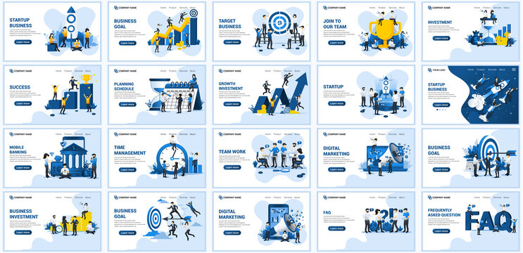 Set of landing page design templates, Big collection concept of business flat vector illustration. can use for web banner, infographics, landing page, web template