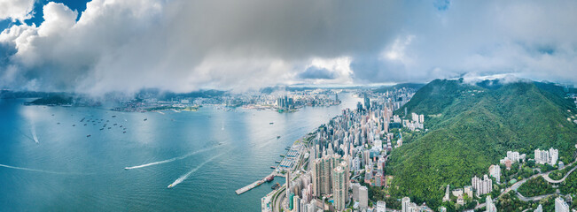 Wall Mural - Amazing view of Victoria Harbour, Hong Kong, panorama, sunny day