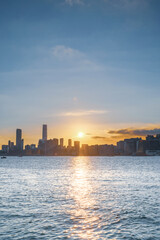 Wall Mural - Sunset of Kowloon area, downtown area of Hong Kong