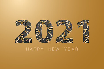 Wall Mural - 2021 happy new year golden banner background card