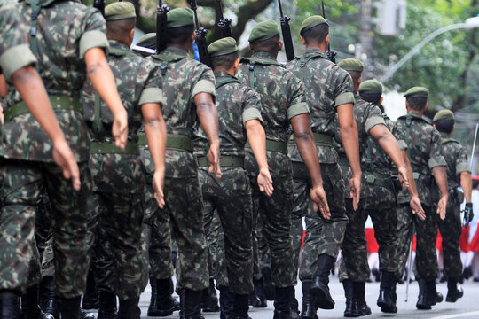 salvador, bahia / brazil - september 7, 2014: Soldiers from the Brazilian army are seen during the Independecia do Brasil parade in the city of Salvador.