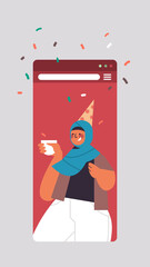 arabic woman in festive hat drinking coffee celebrating online birthday party celebration self isolation quarantine concept smartphone screen mobile app vertical portrait vector illustration