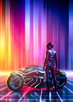 Cyberpunk  motorbike on a vibrant colorful retrowave  landscape with a grid pattern in the cyberspace - vertical version - concept art - 3D rendering