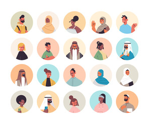 Wall Mural - set mix race people avatars men women portraits collection male female cartoon characters vector illustration