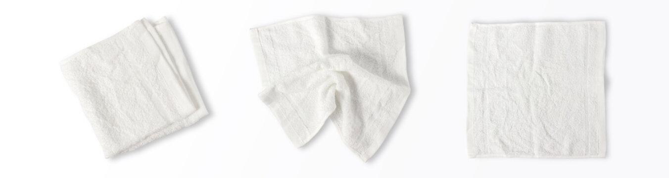 Top view of white napkin cotton, serviette isolated on white background.