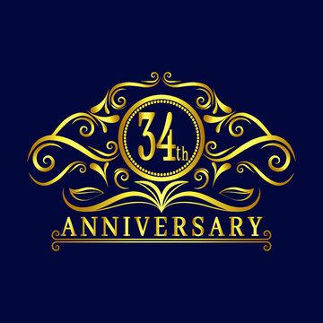 34 years Anniversary logo, luxurious 34th Anniversary design celebration.