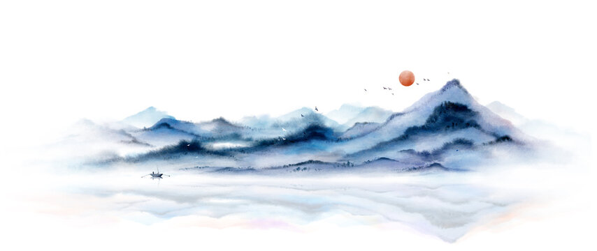 Blue ink landscape painting with ink dots,Oriental ink painting,Chinese style landscape blue ink painting
