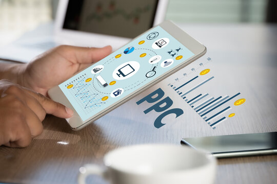 PPC - Pay Per Click concept Businessman working concept ppc.