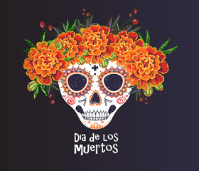 Tuinposter Aquarel schedel Vector sugar skull with marigold flowers wreath illustration in watercolor style. Dia de los muertos day. Halloween poster background, greeting card or t-shirt design on white backdrop