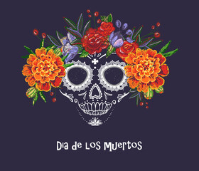 Tuinposter Aquarel schedel Vector sugar skull with marigold and roses embroidery flowers illustration in watercolor style. Dia de los muertos day. Halloween poster background, greeting card or t-shirt design on dark backdrop