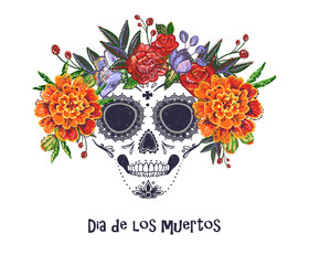 Vector sugar skull with marigold and roses embroidery flowers illustration in watercolor style. Dia de los muertos day. Halloween poster background, greeting card or t-shirt design on white backdrop