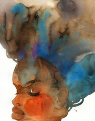 african american woman. illustration. watercolor painting