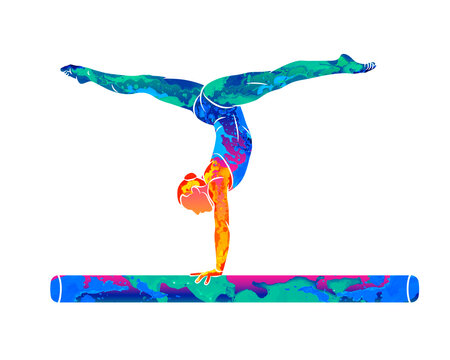 Abstract female athlete doing a complicated exciting trick on gymnastics balance beam from splash of watercolors. Vector illustration of paints