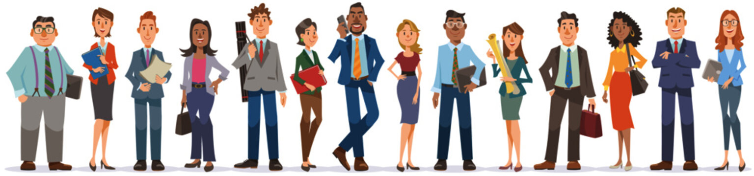 Set of business people whole body on white background. Diverse office workers standing with smile. Vector illustration in flat cartoon style.