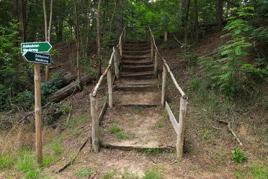 A stairway on hiking trail Schlaubetal with a guide post (inscription: hiking trail Schlaubetal), federal state Brandenburg  Germany