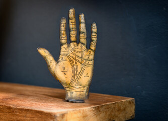 Old Tarot hand showing the zones of the palm