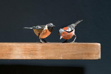 Two vintage metal toy birds on a wooden shelf
